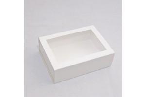 Коробка для Макаронс 115х155х50 Белая с окном (на 12 шт)