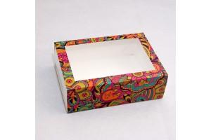 Коробка для Макаронс 115х155х50 Яркий фон с окном (на 12 шт)