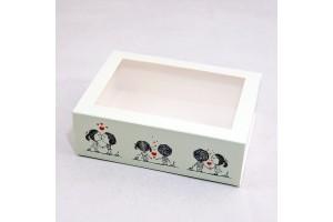 Коробка для Макаронс 115х155х50 Счастье рядом с окном (на 12 шт)