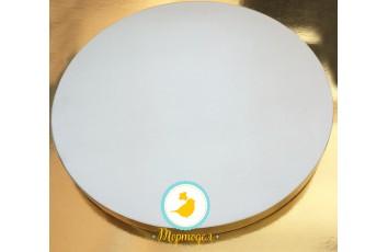 Поднос для торта круглый усиленный белый/золото D 25 см,h-2 см