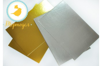 Подложка прямоугольная серебро/золото 30 х 40 см