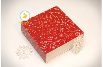 Универсальна коробка Новогодняя красная 160х160х55 мм для печенья, зефира, конфет, макаронсов и прочего, тип пенал с ложементом