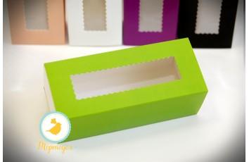 Коробка для макаронс зеленая 151х49х59 мм
