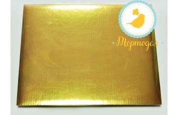 Поднос для торта прямоугольный золото/золото 30 х 40 см