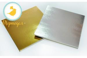 Подложка квадратная серебро/золото 25 х 25 см