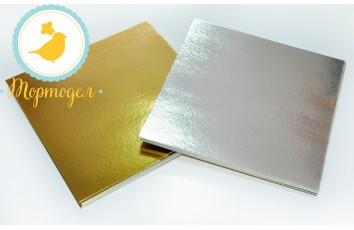 Подложка квадратная серебро/золото 30 х 30 см