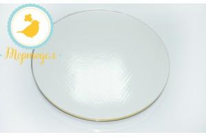 Поднос для торта круглый белый/золото D 25 см
