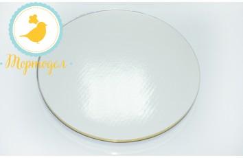 Поднос для торта круглый белый/золото D 40 см