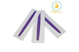 Набор фигурных шпателей из 3 ед. бело-фиолетовый (22,8 х 7,6 см)