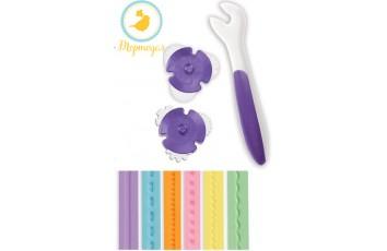 Роликовый нож для мастики бело-фиолетовый