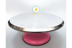 Подставка крутящаяся для работы с тортом Розовая 300*150 мм №3