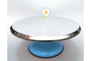 Подставка крутящаяся для работы с тортом Голубая  300*150 мм №3