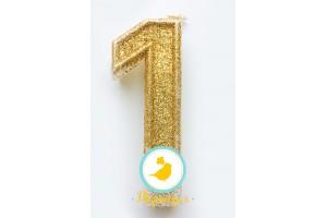"""Свеча цифра """"1"""" с блестками золото"""