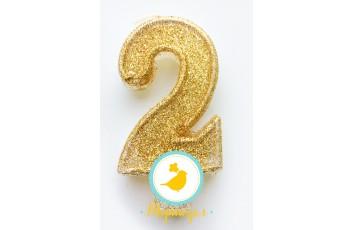 """Свеча цифра """"2"""" с блестками  золото"""