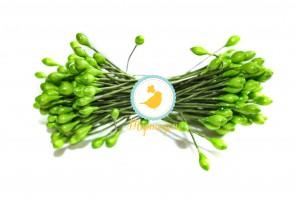 Тычинка двусторонняя на зеленой проволоке (светло-зеленая)
