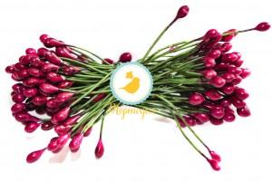 Тычинка двусторонняя на зеленой проволоке (вишневая)