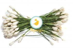 Тычинка двусторонняя на зеленой проволоке (лимонная)