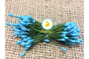 Тычинка двусторонняя на  проволоке (небесно-голубая)