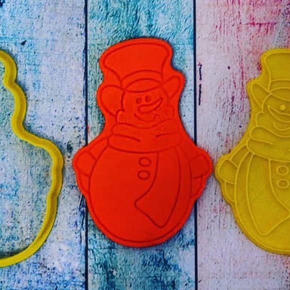 Вырубка для пряника со штампом Снеговик №3.Купить в Киеве,Харькове и Украине по лучшей цене в интернет магазине Тортодел