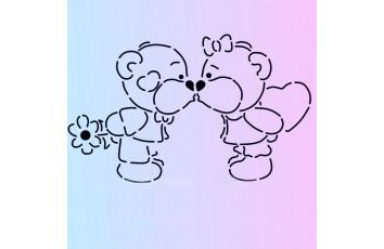 Трафарет + вырубка Мишки-поцелуй