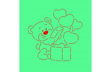 Трафарет + вырубка Мишка с коробкой сердец