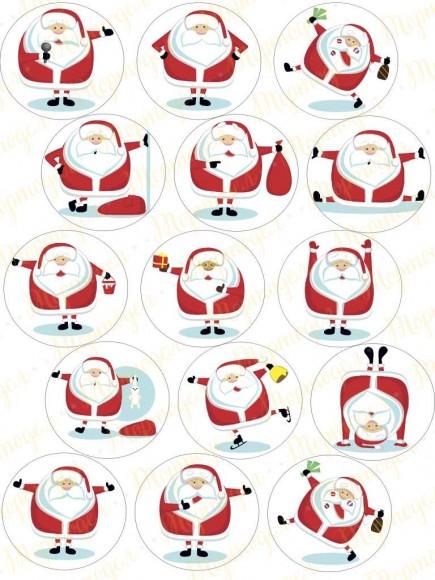 Картинка для маффинов и капкейков Новый год № 10. Купить вафельную или сахарную картинку Киев и Украина. Цена в интернет магазине Тортодел.